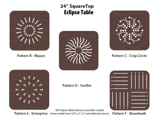 E-24SQPUNCH – 24 inch Square Table 1