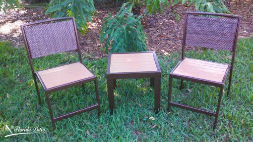Faux Teak Wood End Table