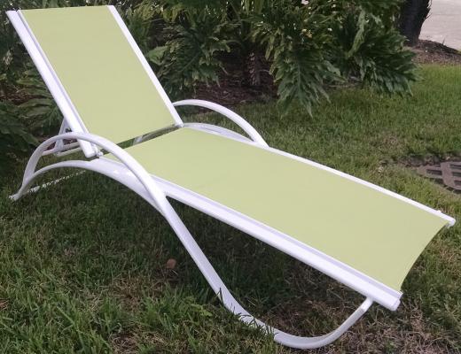 Garden Green Sling Chaise Lounge 1