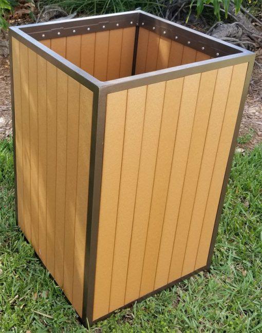 Faux Teak Wood Trash Bin